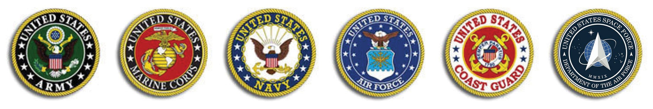 Logos for the military branches of the United States of America.