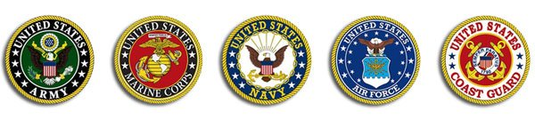 Logos of all 5 branches of the United States of America Armed Forces