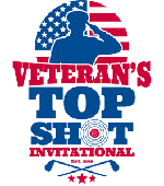 Logo for Veteran's Top Shot Invitational on Cape Cod which supports veterans by raising funds through our shooting competition at Cape Gun Works and golf tournament at Sandwich Hollows Golf Club. Website by Devadigm