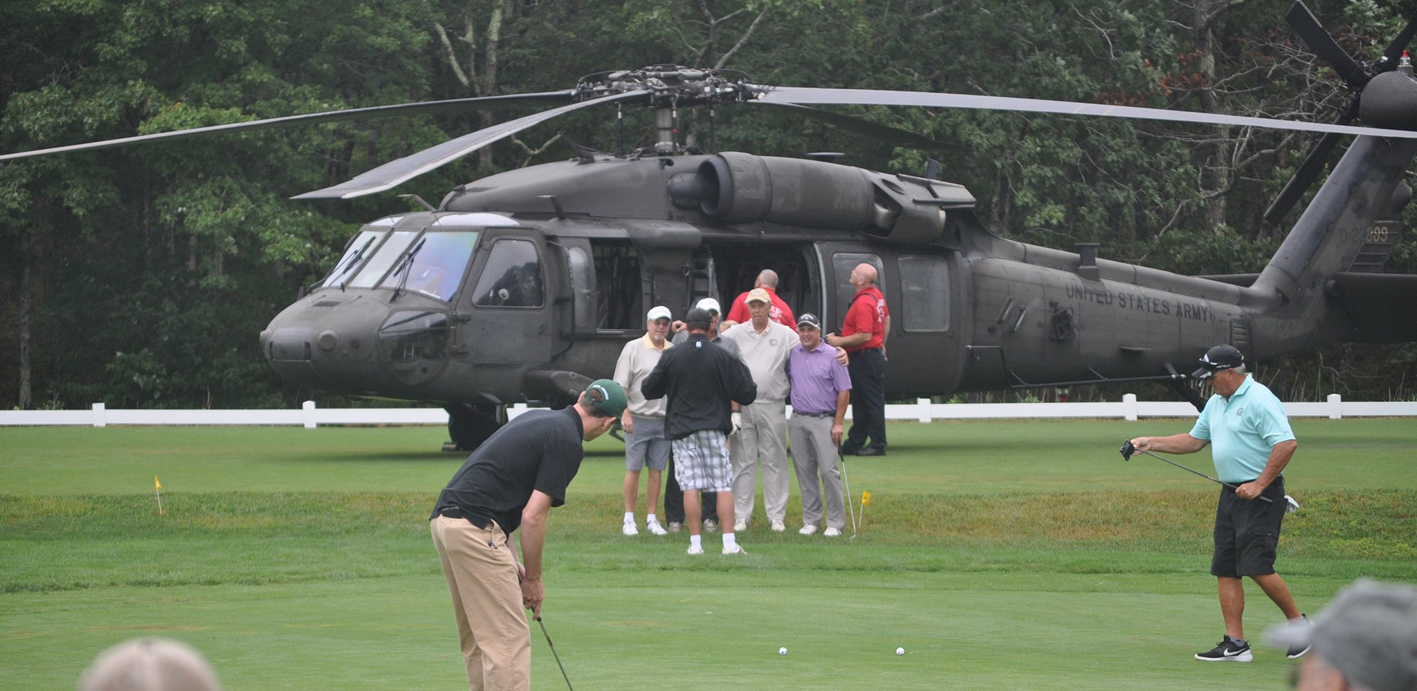 Blackhawk helicopter on Sandwich Hollows Golf Club on Cape Cod. The helicopter was flown in to support our Veteran's at the Veteran's Top Shot Invitational